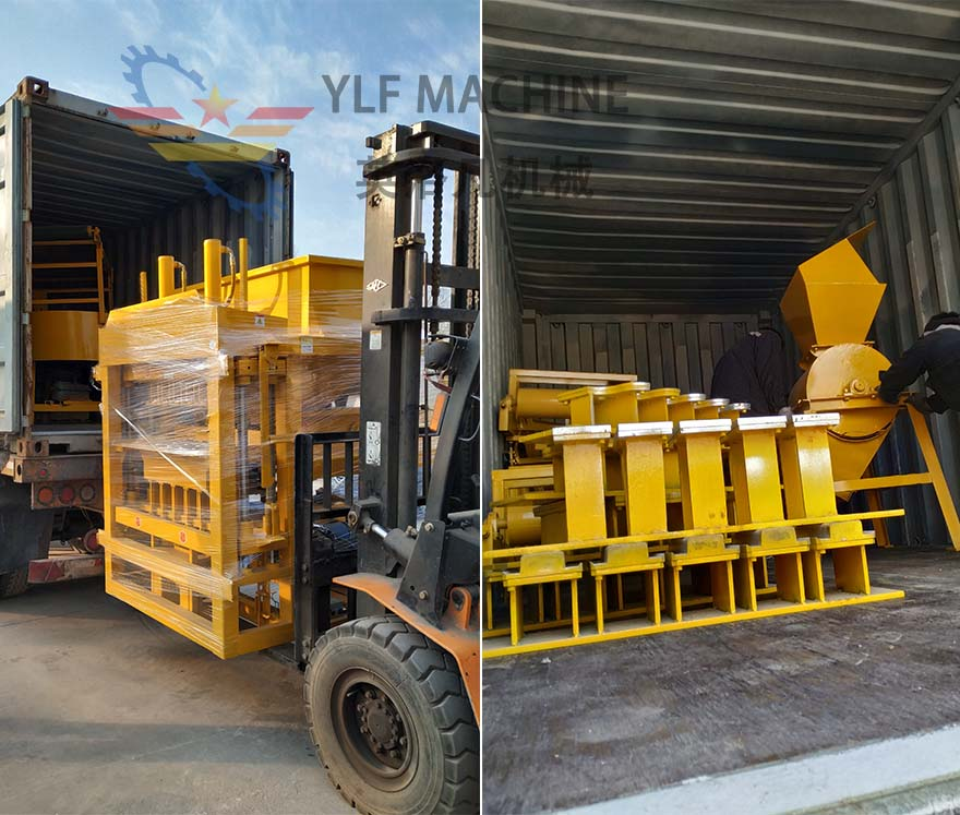 Delivery of YLF5-10 automatic compressed soil brick making machine